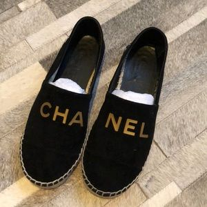 Authentic Chanel Black Velvet Espadrille Flats 8